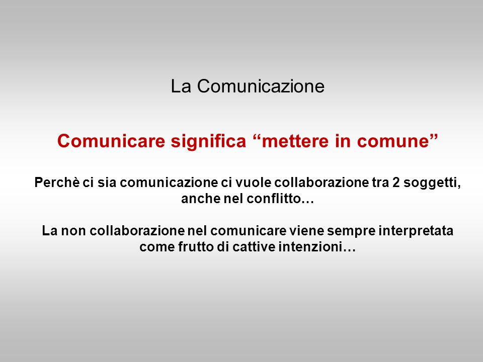 La Comunicazione Comunicare significa mettere in comune Perchè ci sia comunicazione ci vuole collaborazione tra 2 soggetti, anche nel conflitto… La non collaborazione nel comunicare viene sempre interpretata come frutto di cattive intenzioni…