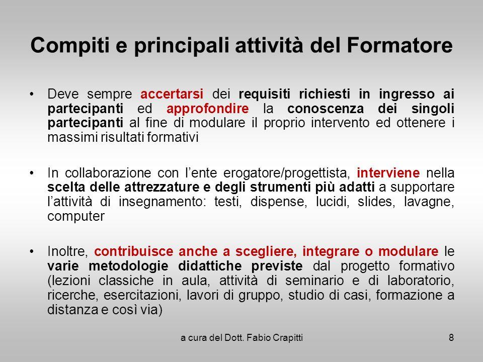 Compiti e principali attività del Formatore