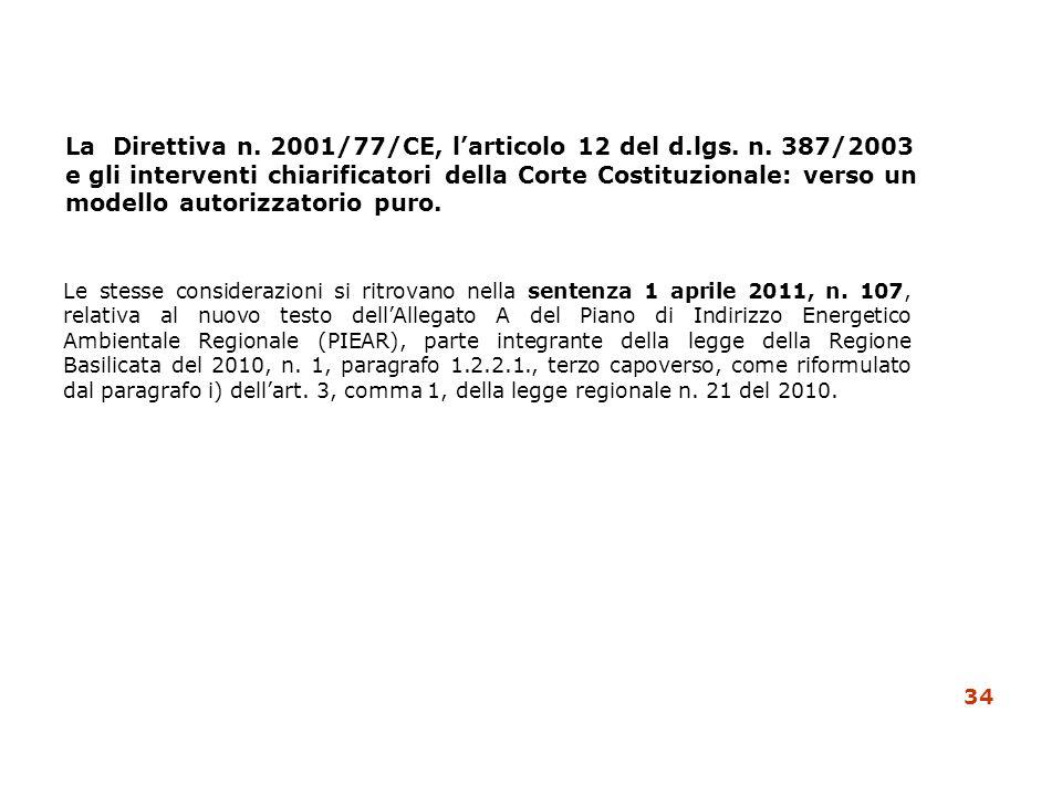 La Direttiva n. 2001/77/CE, l'articolo 12 del d. lgs. n