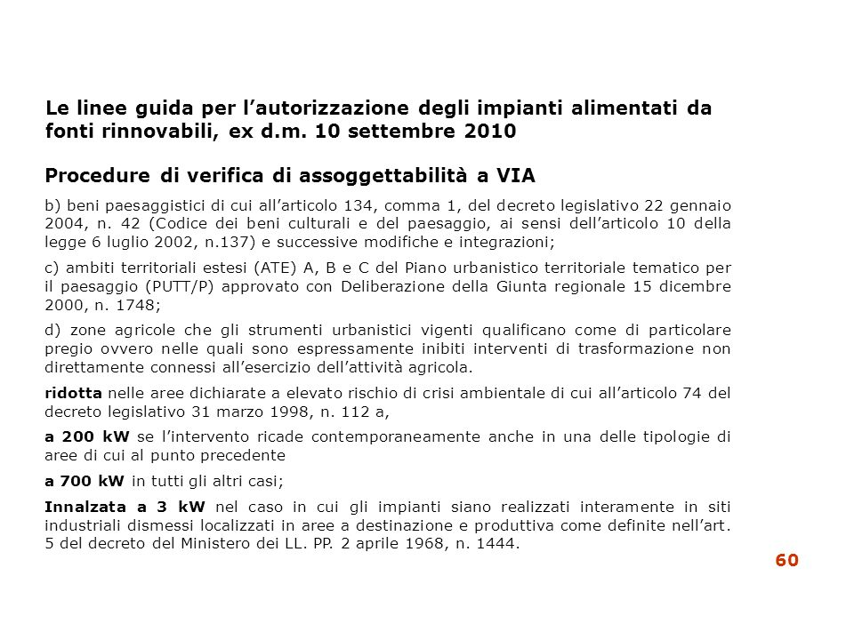 Procedure di verifica di assoggettabilità a VIA