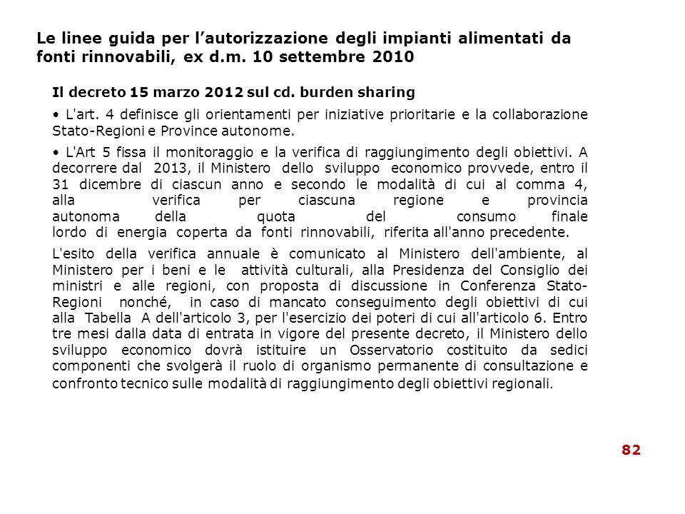 Il decreto 15 marzo 2012 sul cd. burden sharing