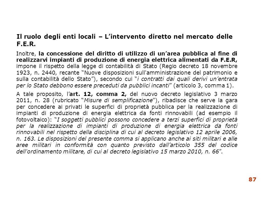 Il ruolo degli enti locali – L'intervento diretto nel mercato delle F