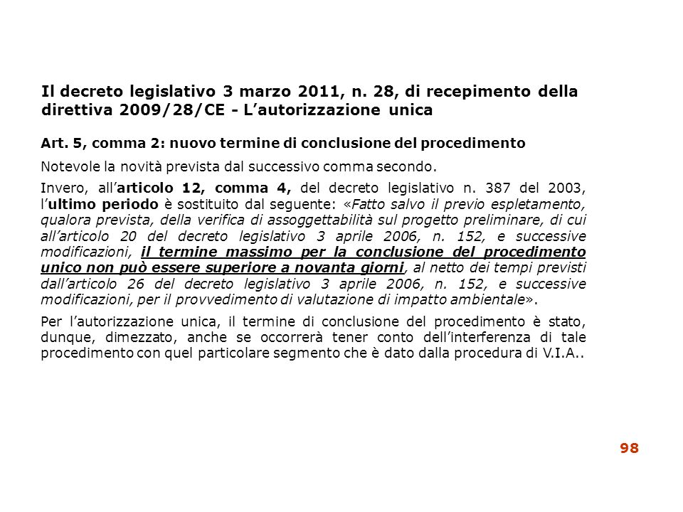 Art. 5, comma 2: nuovo termine di conclusione del procedimento