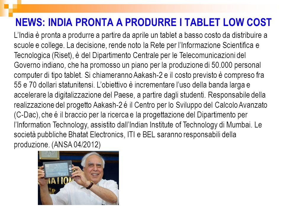 NEWS: INDIA PRONTA A PRODURRE I TABLET LOW COST
