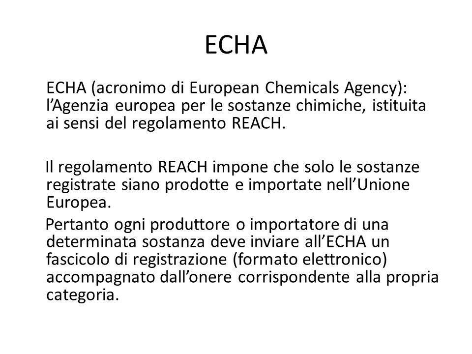 ECHA ECHA (acronimo di European Chemicals Agency): l'Agenzia europea per le sostanze chimiche, istituita ai sensi del regolamento REACH.