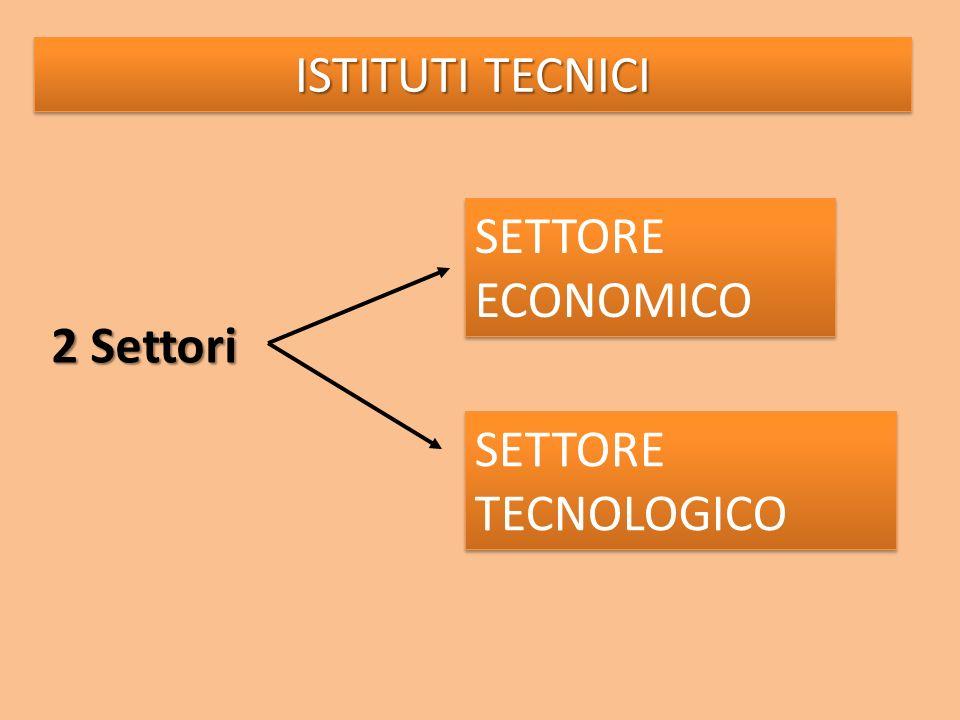 ISTITUTI TECNICI SETTORE ECONOMICO 2 Settori SETTORE TECNOLOGICO