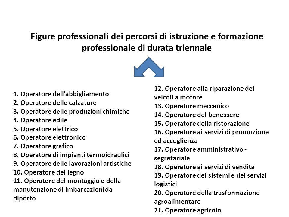 Figure professionali dei percorsi di istruzione e formazione professionale di durata triennale