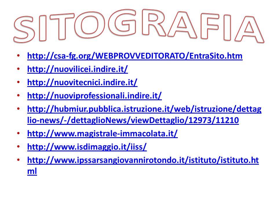 SITOGRAFIA http://csa-fg.org/WEBPROVVEDITORATO/EntraSito.htm