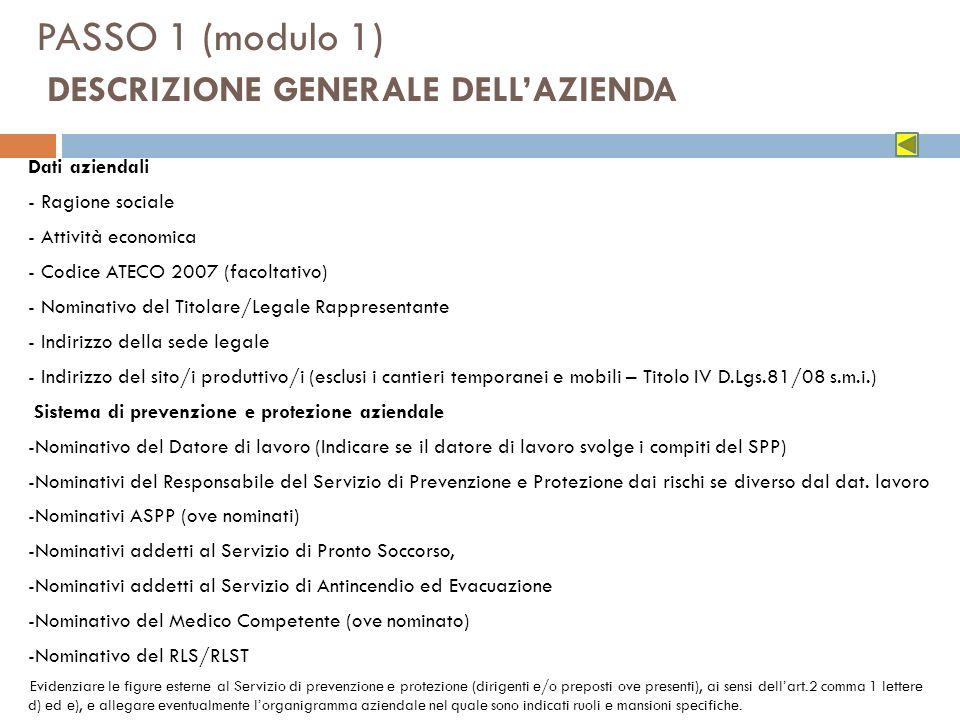 PASSO 1 (modulo 1) DESCRIZIONE GENERALE DELL'AZIENDA