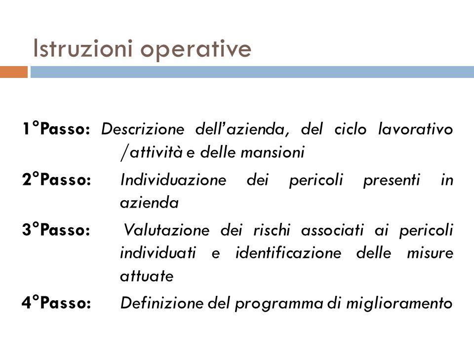 Istruzioni operative 1°Passo: Descrizione dell'azienda, del ciclo lavorativo /attività e delle mansioni.