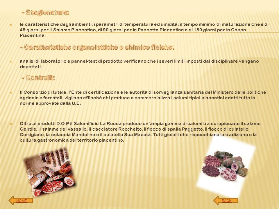 - Caratteristiche organolettiche e chimico fisiche:
