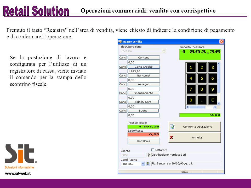Retail Solution Operazioni commerciali: vendita con corrispettivo