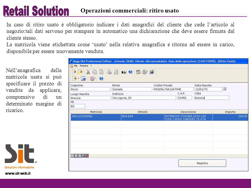 Retail Solution Operazioni commerciali: ritiro usato