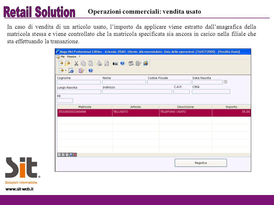 Retail Solution Operazioni commerciali: vendita usato