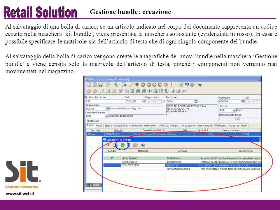 Retail Solution Gestione bundle: creazione