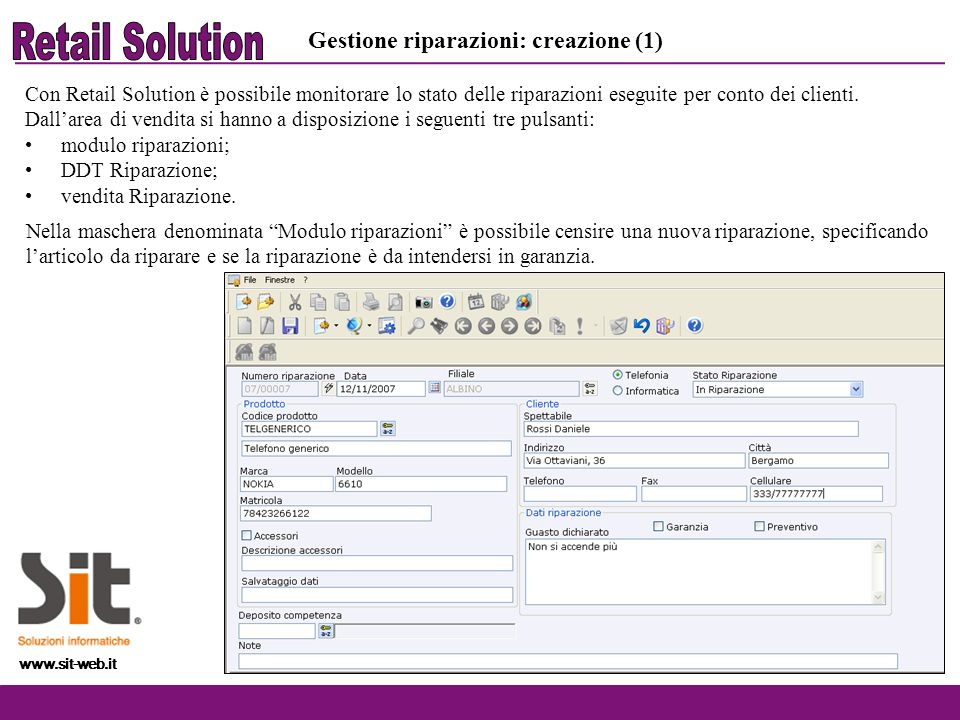 Retail Solution Gestione riparazioni: creazione (1)