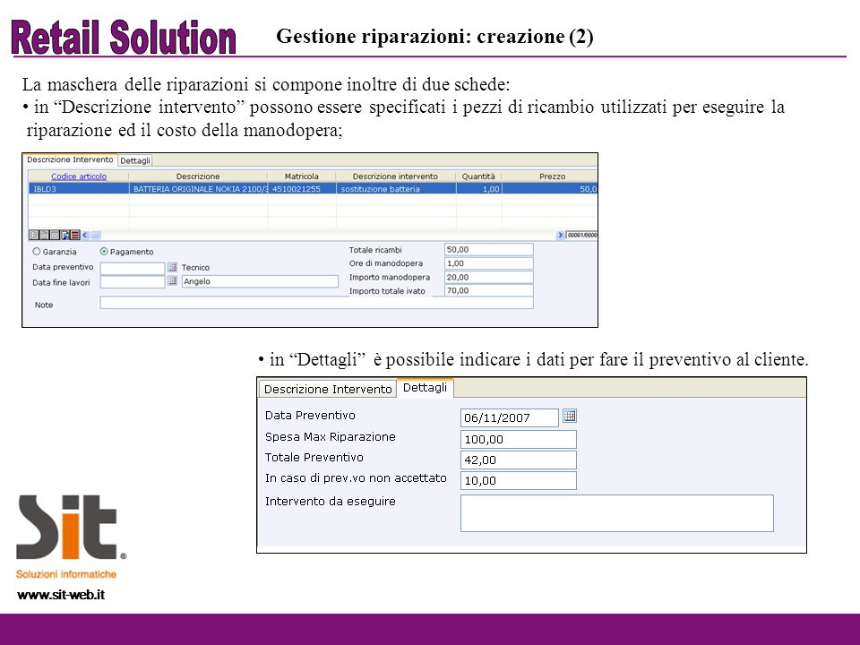 Retail Solution Gestione riparazioni: creazione (2)