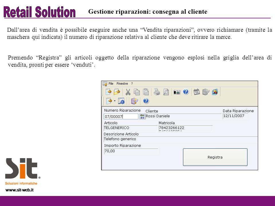 Retail Solution Gestione riparazioni: consegna al cliente