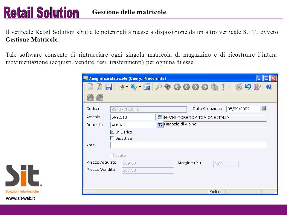 Retail Solution Gestione delle matricole