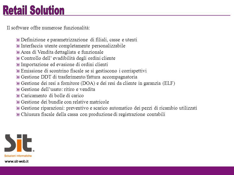 Retail Solution Il software offre numerose funzionalità: