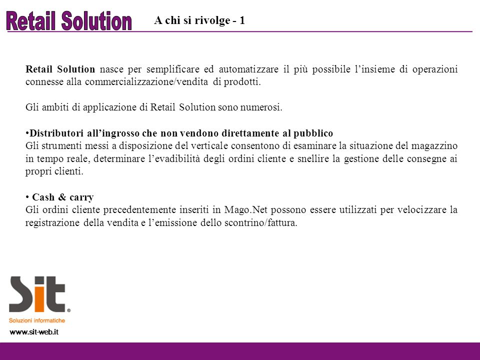 Retail Solution A chi si rivolge - 1