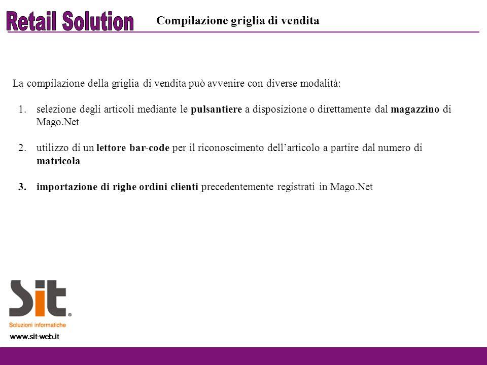 Retail Solution Compilazione griglia di vendita