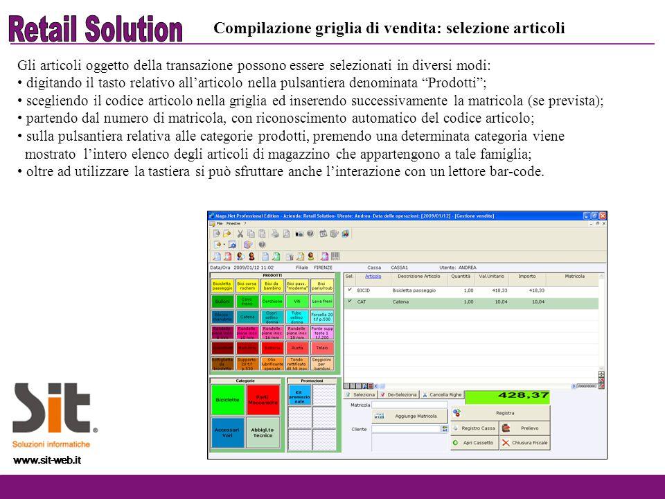Retail Solution Compilazione griglia di vendita: selezione articoli