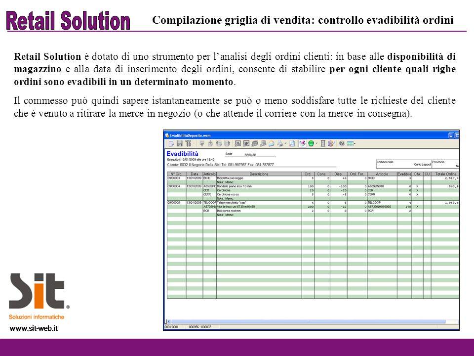 Retail Solution Compilazione griglia di vendita: controllo evadibilità ordini.