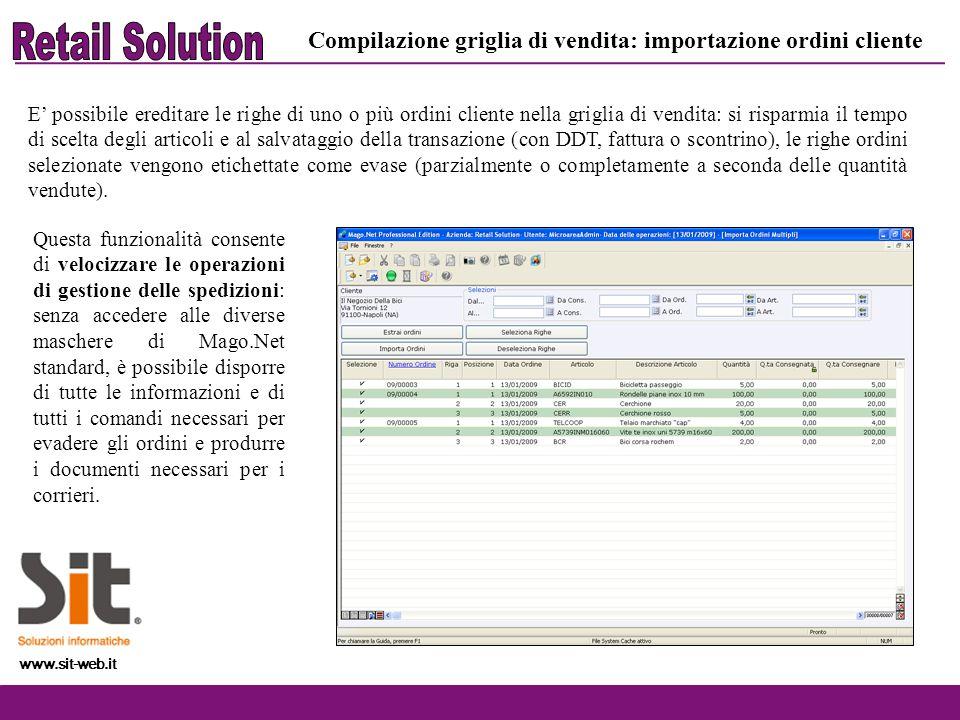 Retail Solution Compilazione griglia di vendita: importazione ordini cliente.