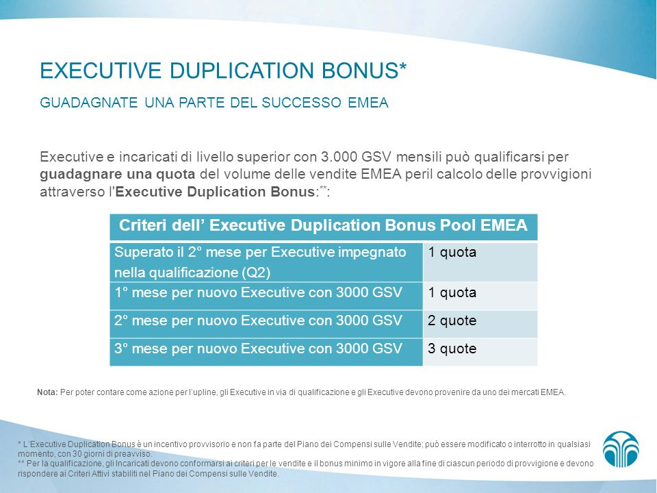Criteri dell' Executive Duplication Bonus Pool EMEA