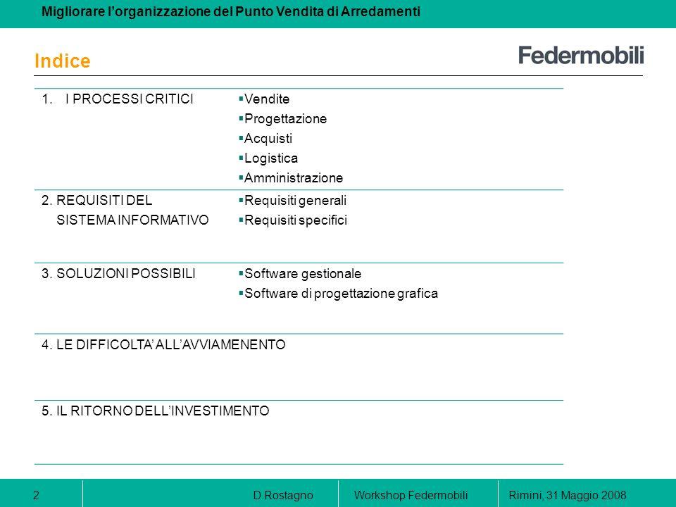 Indice 1. I PROCESSI CRITICI Vendite Progettazione Acquisti Logistica