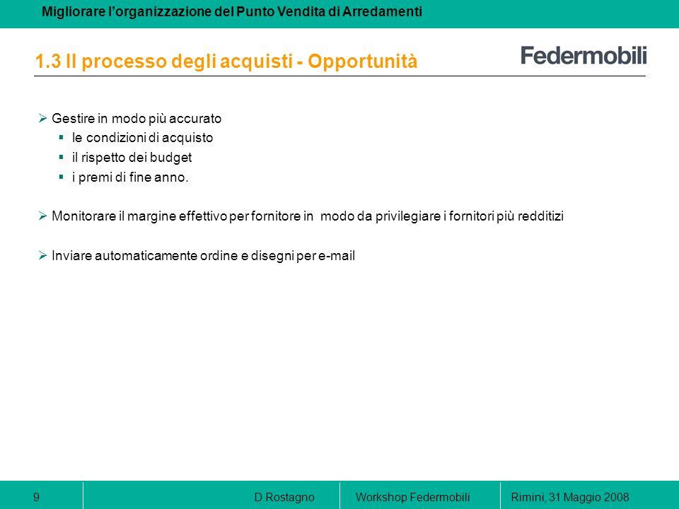 1.3 Il processo degli acquisti - Opportunità