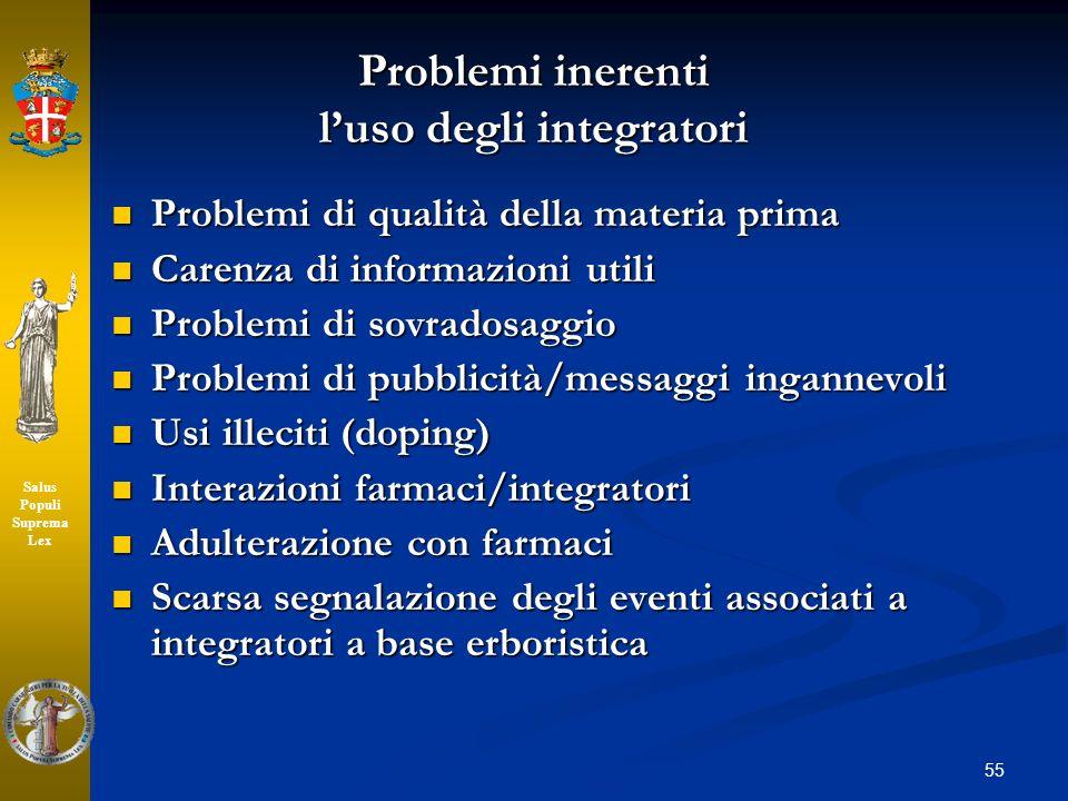 Problemi inerenti l'uso degli integratori