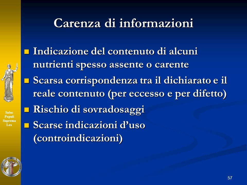 Carenza di informazioni
