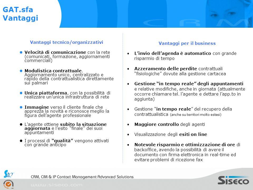 Vantaggi tecnico/organizzativi Vantaggi per il business