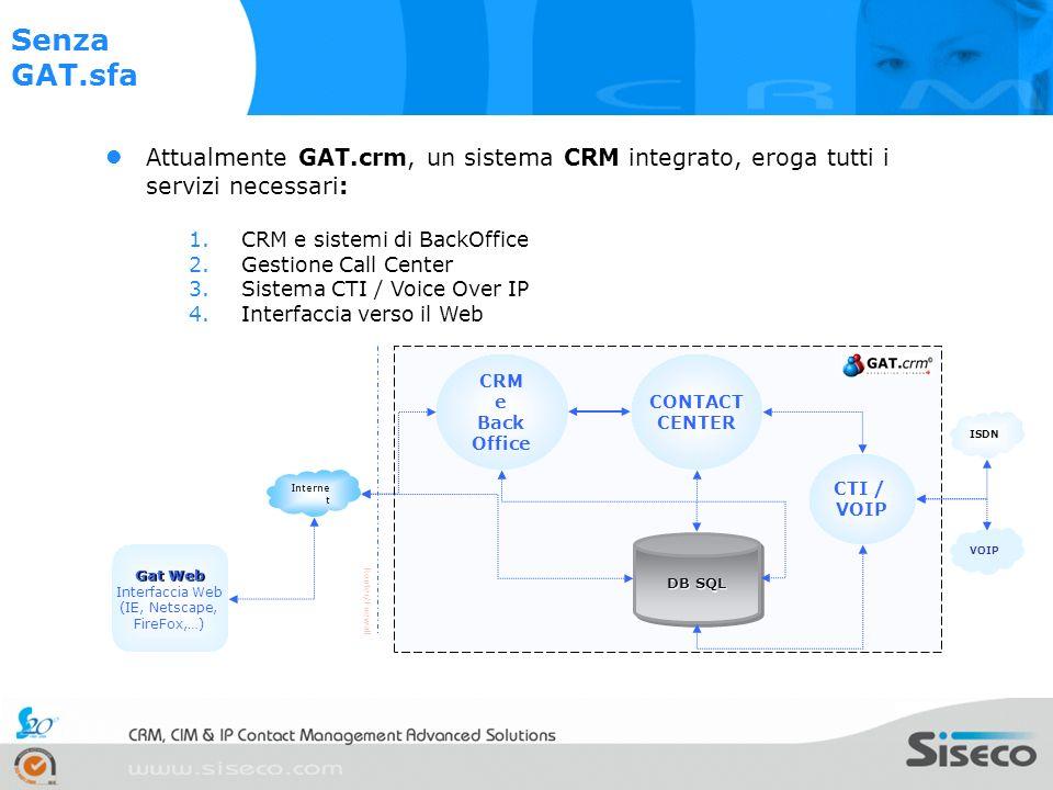 Senza GAT.sfa Attualmente GAT.crm, un sistema CRM integrato, eroga tutti i servizi necessari: CRM e sistemi di BackOffice.