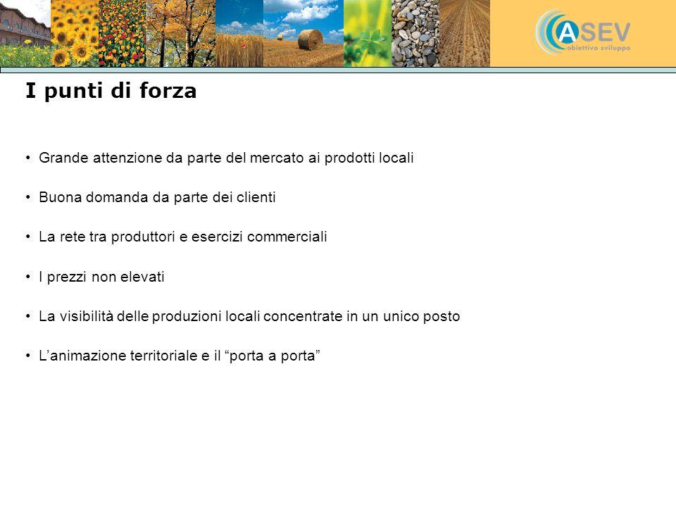 I punti di forza Grande attenzione da parte del mercato ai prodotti locali. Buona domanda da parte dei clienti.