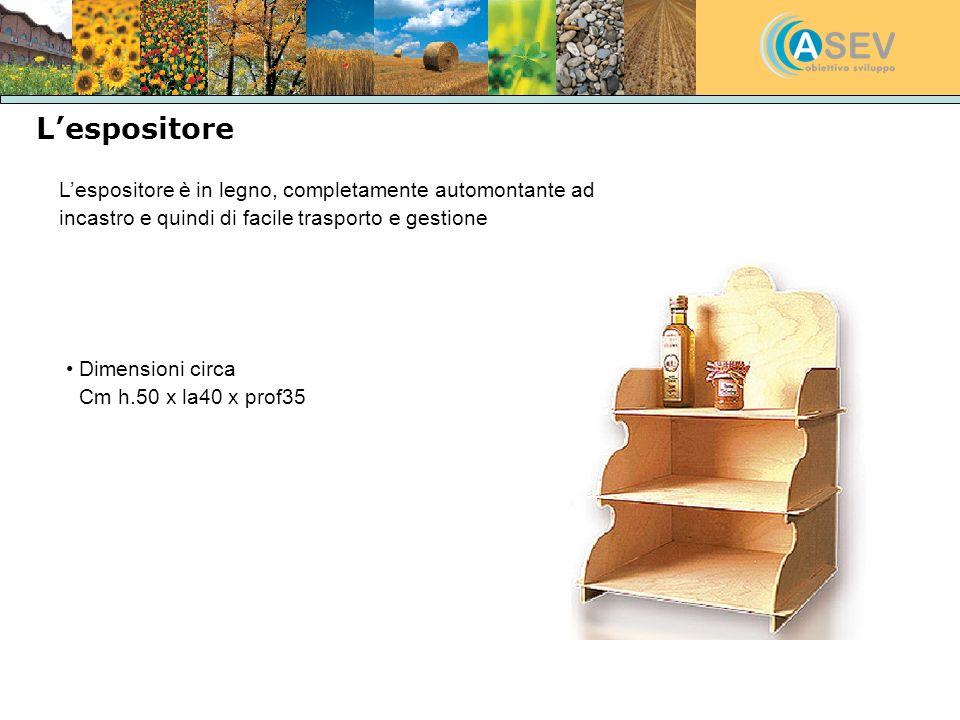 L'espositore L'espositore è in legno, completamente automontante ad incastro e quindi di facile trasporto e gestione.