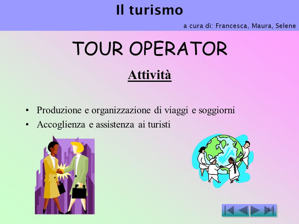 TOUR OPERATOR Il turismo Attività
