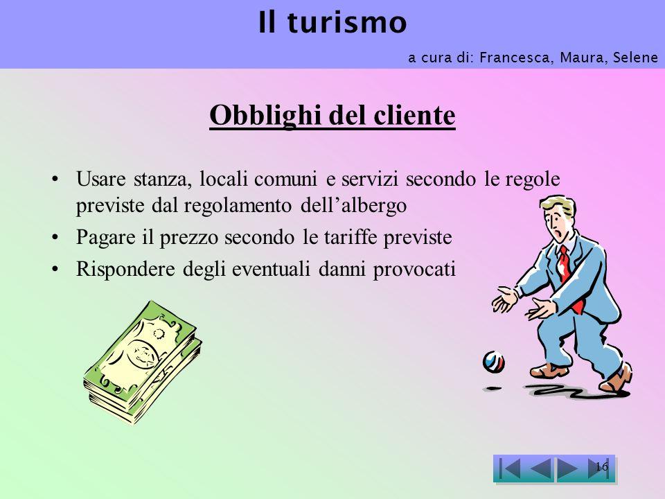 Il turismo Obblighi del cliente