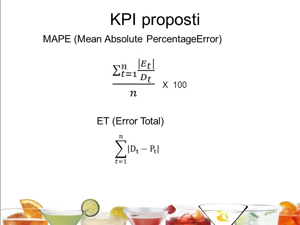 KPI proposti MAPE (Mean Absolute PercentageError) ET (Error Total)