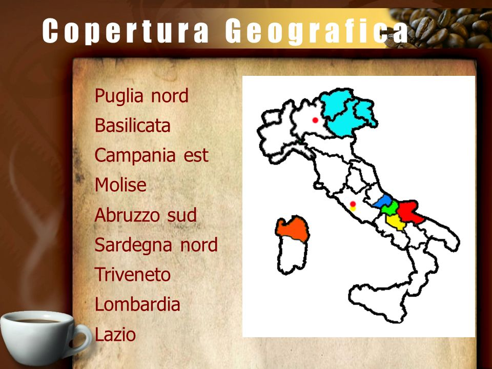 C o p e r t u r a G e o g r a f i c a Puglia nord Basilicata