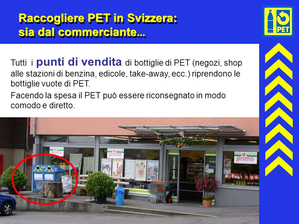 Raccogliere PET in Svizzera: sia dal commerciante...