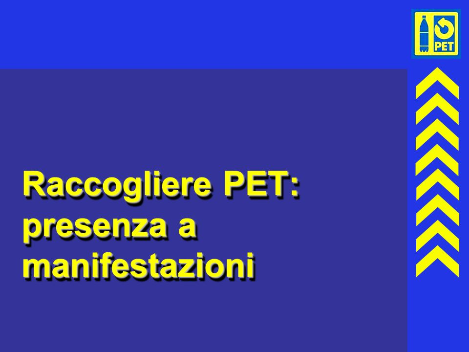 Raccogliere PET: presenza a manifestazioni