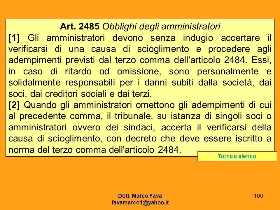 Art. 2485 Obblighi degli amministratori