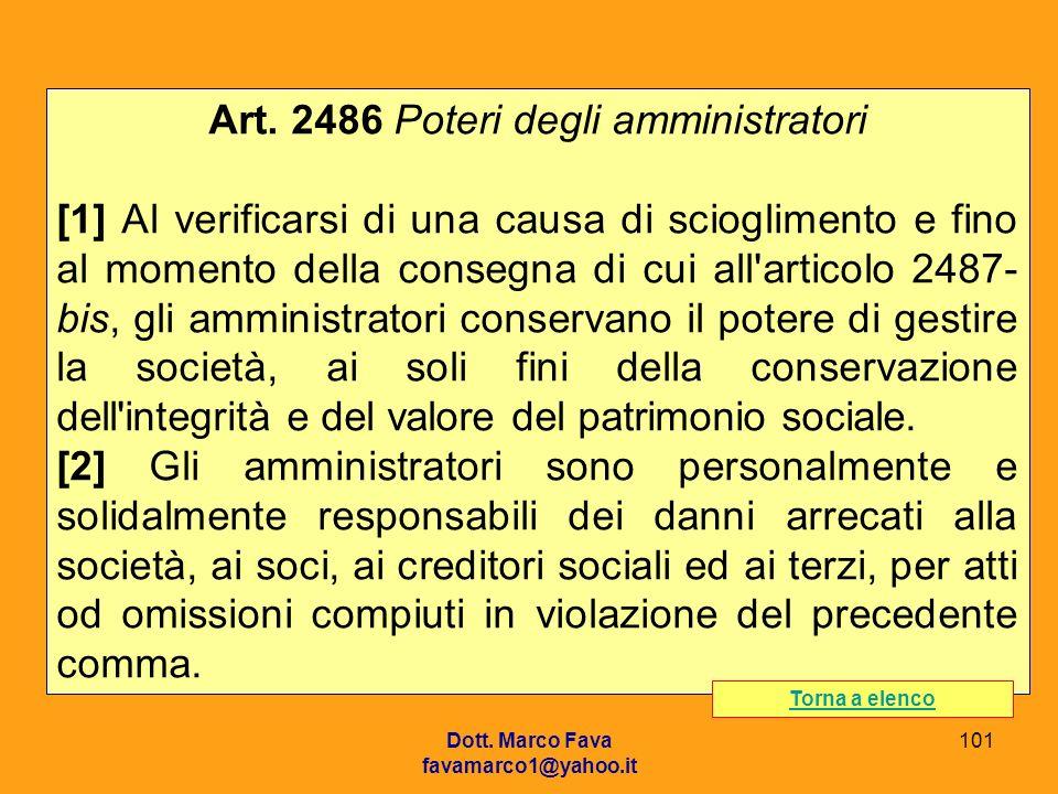 Art. 2486 Poteri degli amministratori
