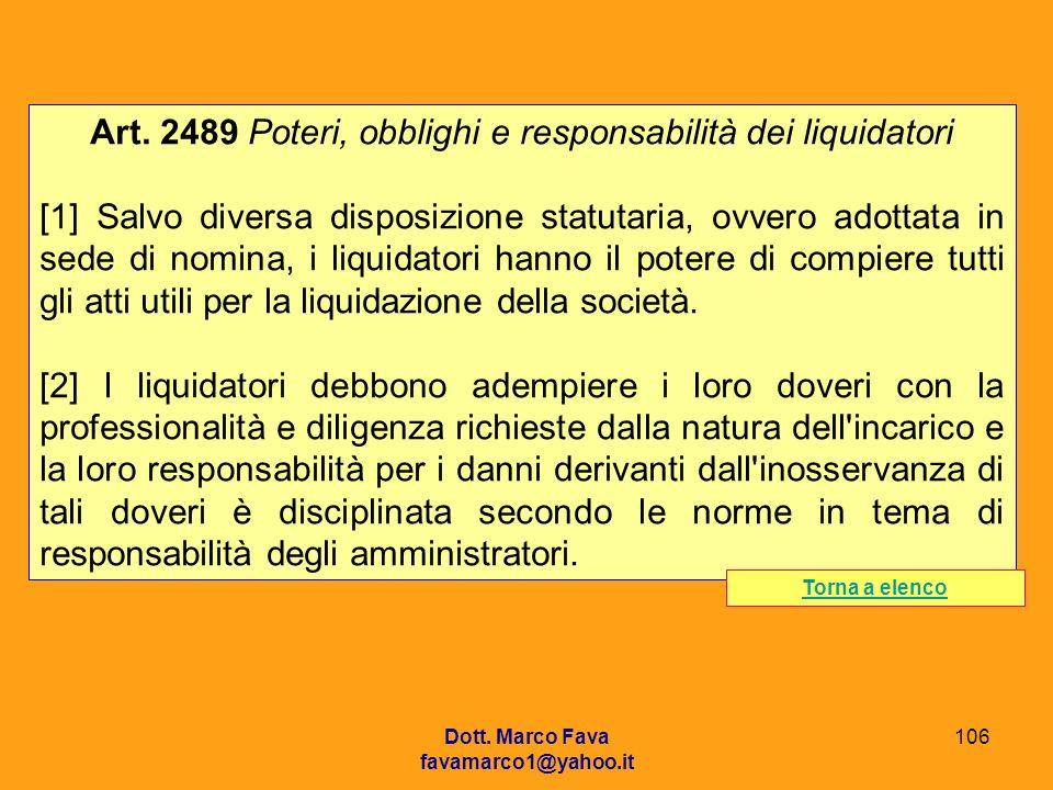 Art. 2489 Poteri, obblighi e responsabilità dei liquidatori