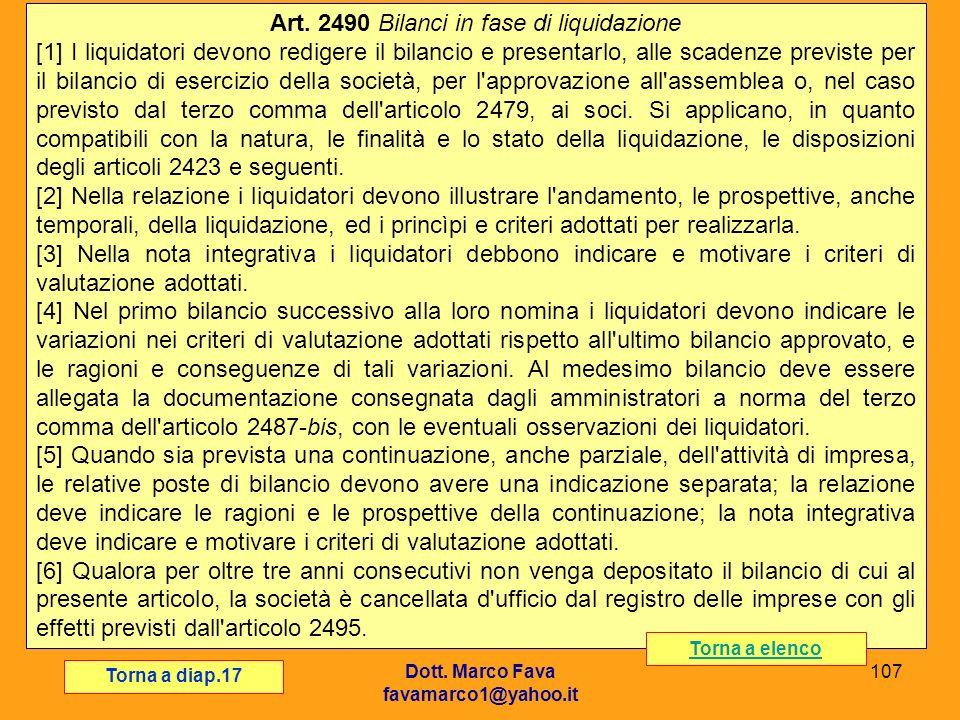 Art. 2490 Bilanci in fase di liquidazione