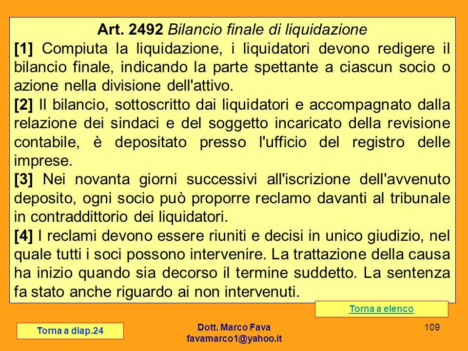 Art. 2492 Bilancio finale di liquidazione