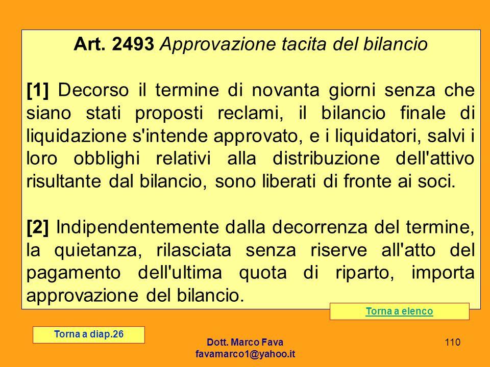 Art. 2493 Approvazione tacita del bilancio